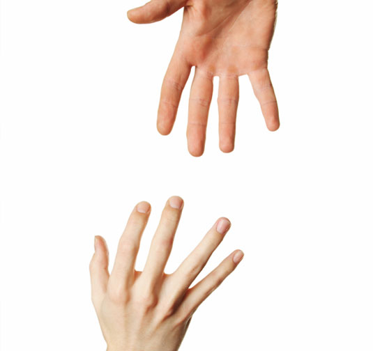 A hand up